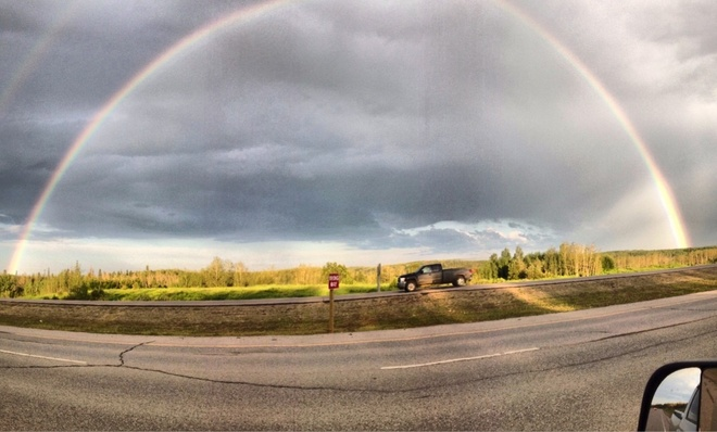 Rainbow on 63. Fort McMurray, Alberta Canada