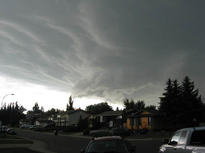 Severe thunderstorm rolling into town Lethbridge, Alberta Canada