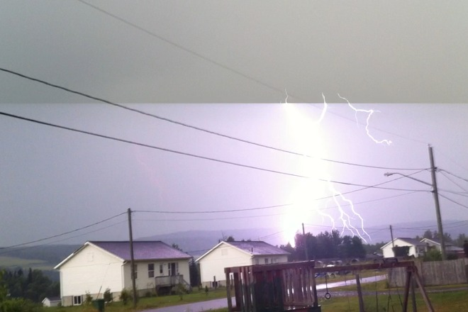 Bad Thunderstorm starts Fire In the woods Tobique 20, New Brunswick Canada