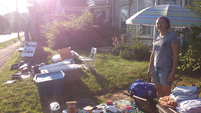 Super Sunny Saturday for Yard Sale in Wolfville. Wolfville, Nova Scotia Canada