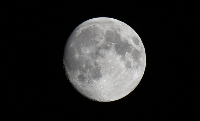 Waxing Gibbous Moon - 97% full. Prince George, British Columbia Canada