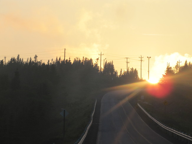 sun on the road Long Harbour-Mount Arlington Heights, Newfoundland and Labrador Canada