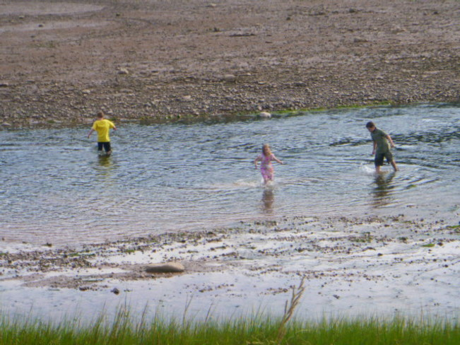 Children playing in the water Alma, New Brunswick Canada