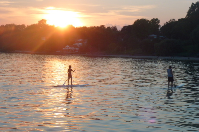 Paddle Board in Sunset Port Dover, Ontario Canada