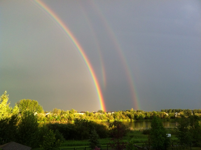 Multiple Rainbows Abasand Heights, Alberta Canada