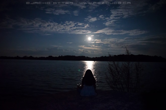 looking at moon over Akwesasne Akwesasne, Ontario Canada