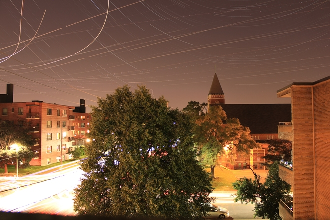 aircraft traffic and startrails Toronto, Ontario Canada