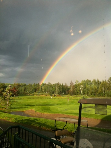 Double Domed Rainbow over Emerald Greens Golf Course Thunder Bay, Ontario Canada