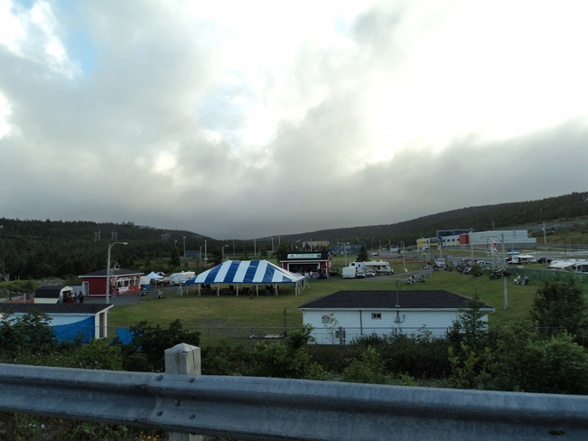 Motor cycle fund raiser under the heavy cloud and rain showers. Carbonear, Newfoundland and Labrador Canada