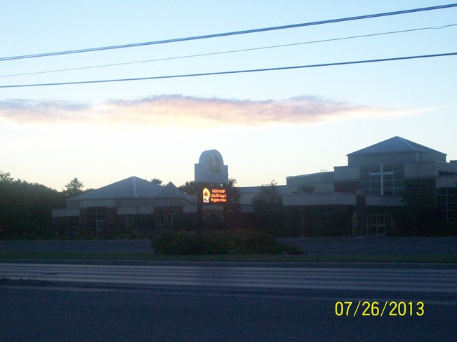Beautiful Friday evening over a Church Belleville, Ontario Canada