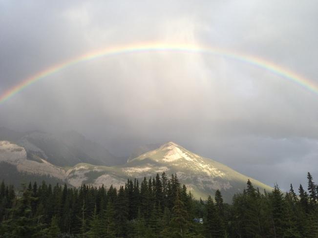 Rainbow after the strom Jasper, Alberta Canada