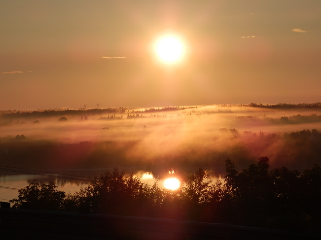 Morning Sunrise Fog Flin Flon, Manitoba Canada