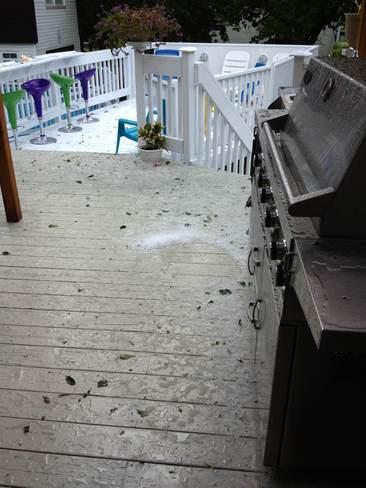 hail accumulation Cumberland, Ontario Canada