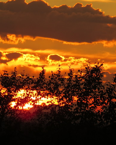 Sky on fire Timmins, Ontario Canada