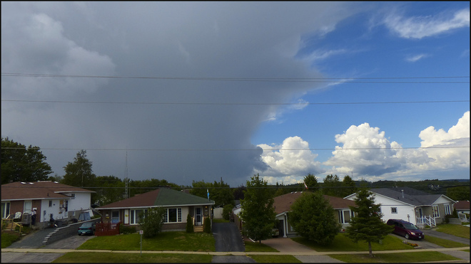 Over Elliot Lake a sudden storm cloud. Elliot Lake, Ontario Canada