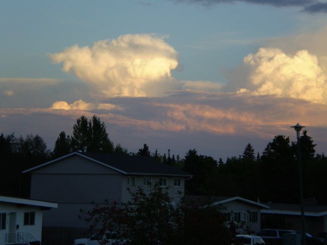 sunsets nicely in clouds Prince George, British Columbia Canada