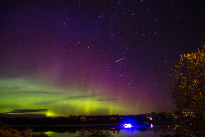 Northern Lights and Shooting Stars Elk City, Ontario Canada