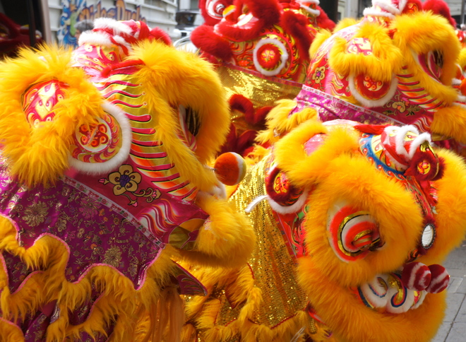 Lions Dancing in Chinatown San Francisco, California United States