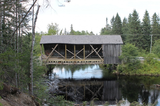 A Better View Of Damage To The Maxwell Crossing Covered Bridge. St. Stephen, New Brunswick Canada
