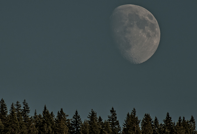Cool moon over Roots and Blues Salmon Arm, British Columbia Canada