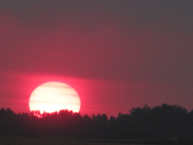red sunset Brandon, Manitoba Canada