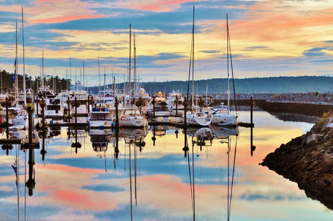 REFLECTIONS AMONG THE BOATS Sidney, British Columbia Canada