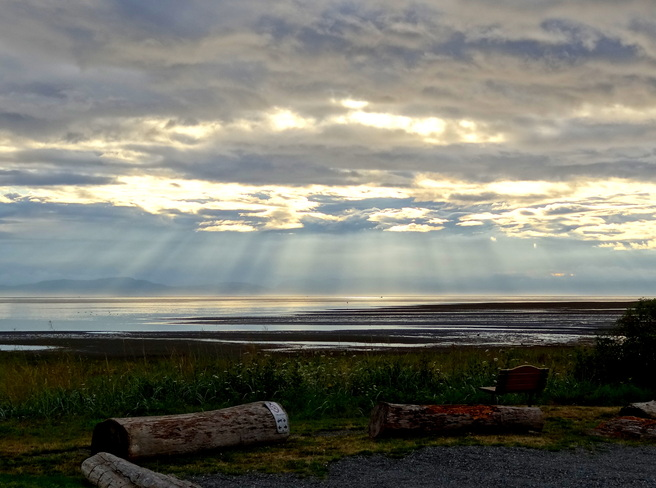 Morning rays in distant clouds Royston, British Columbia Canada