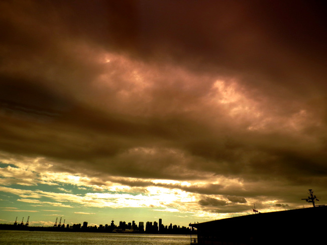 Sun Behind the Dark Clouds Greater Vancouver, British Columbia Canada