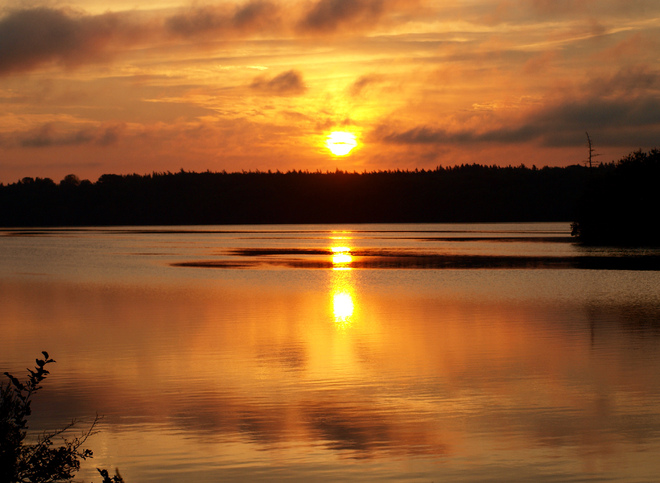 sunrise over Lake Vaughan Tusket, Nova Scotia Canada