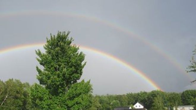 double rainbow Minto, New Brunswick Canada