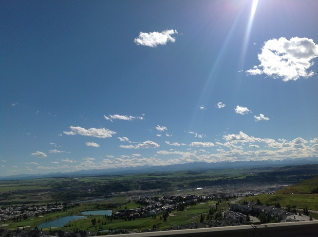 Looking down on Cochrane, Alberta Canada