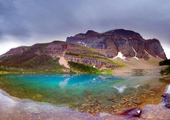This is Annette Lake near Moraine Lake and Lake Louise Lake Louise, Alberta Canada