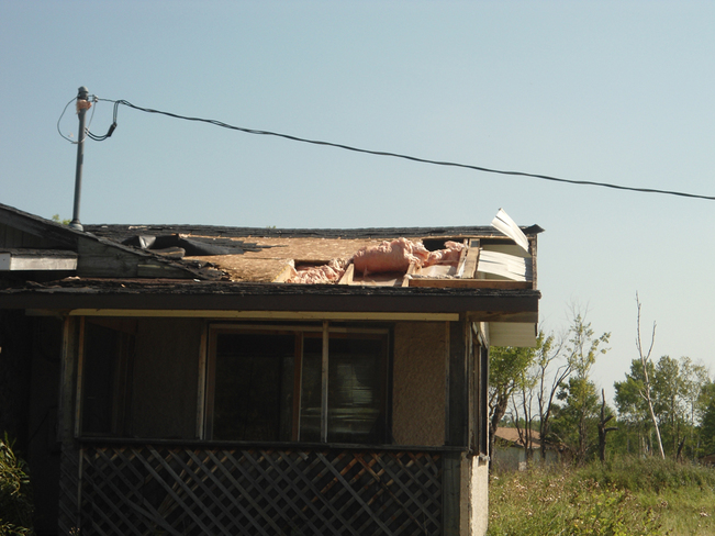 Roof Top Ripped By Winds Fort Alexander 3, Manitoba Canada