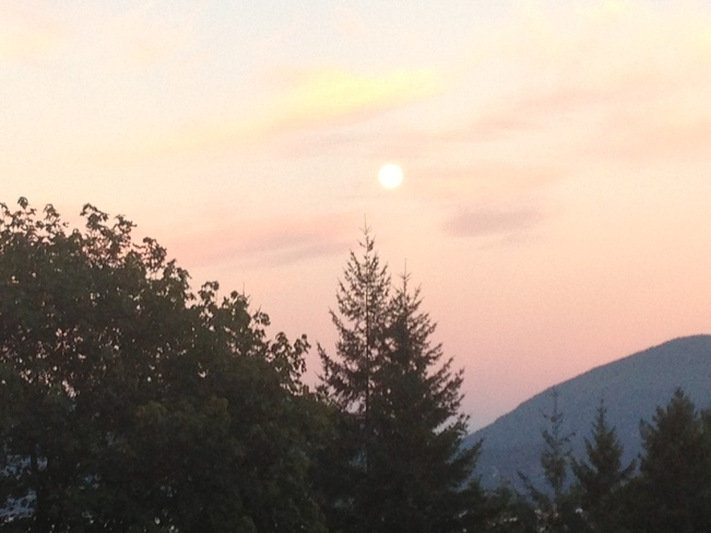 Sunrise and Full Moon Vancouver, British Columbia Canada
