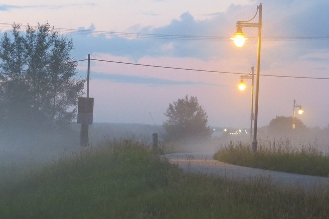 Early evening fog Timmins, Ontario Canada