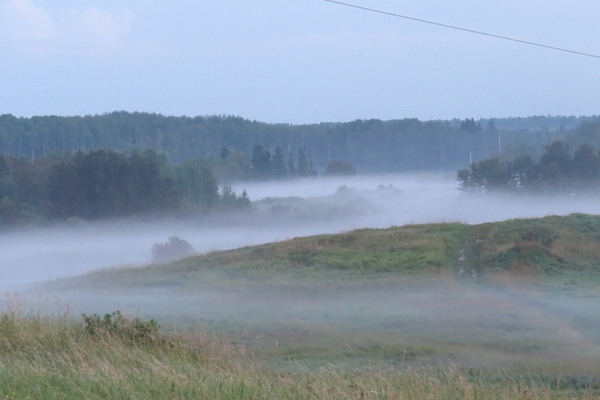 The fog drift in. Timmins, Ontario Canada
