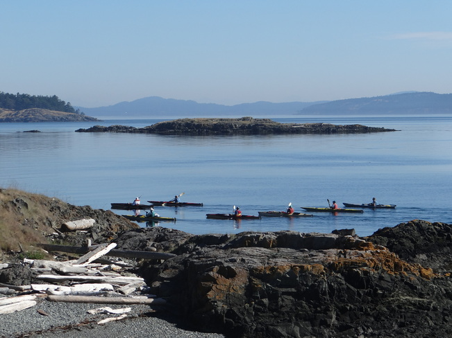 Kayakers off D'Arcy Island Victoria, British Columbia Canada