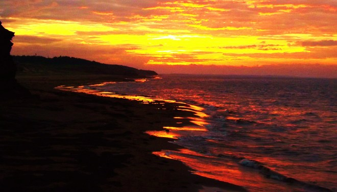 fire in the sky Lower Darnley, Prince Edward Island Canada