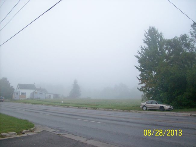 This Mornings Fog as seen from Sidney street Belleville, Ontario Canada
