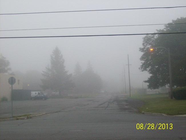 The Fog from this Morning as seen over north yeomans street Belleville, Ontario Canada