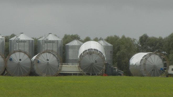 blown down grain bins Choiceland, Saskatchewan Canada