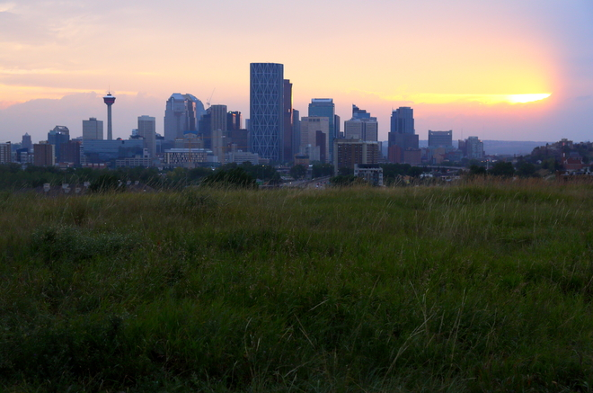 Downtown from Tom Campbell hill Calgary, Alberta Canada