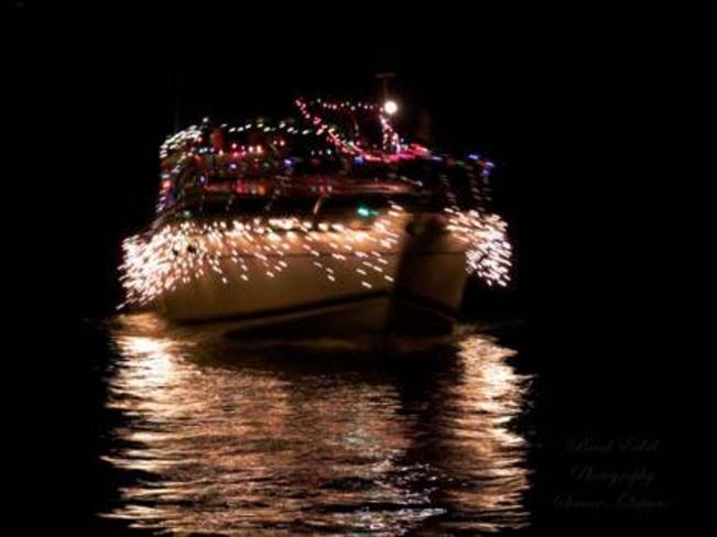 The river of lights boat parade Port Dover, Ontario Canada