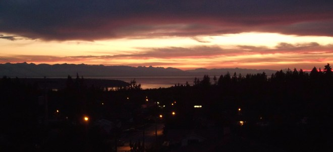 Sunset, looking at Vancouver Island Powell River, British Columbia Canada