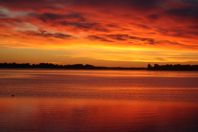 Sun is Coming Up Over The Bay of quinte Belleville, Ontario Canada