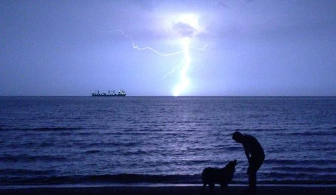 Fork lightening above Lake Ontario Port Dalhousie, Ontario Canada