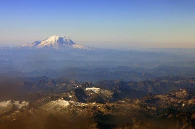Airline view of Mt. Rainier Seattle, Washington United States