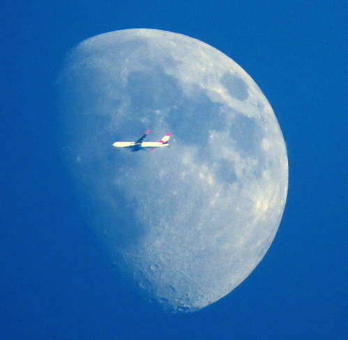 Moon and Plane Hastings, Ontario Canada