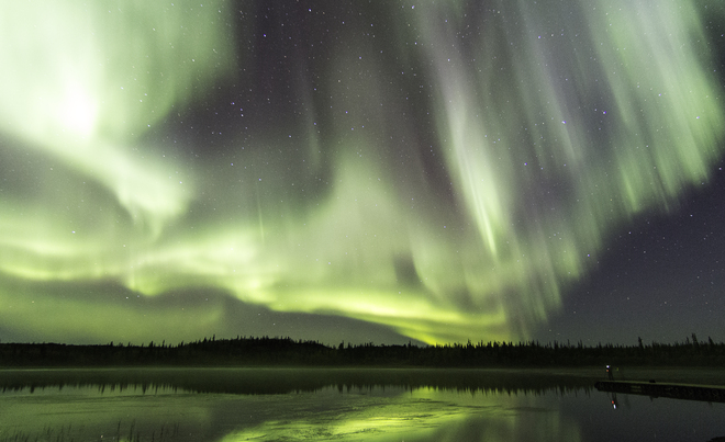 Aurora & Fog in the Night Yellowknife, Northwest Territories Canada