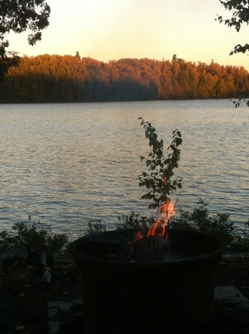 Fall night for a campfire Moonbeam, Ontario Canada
